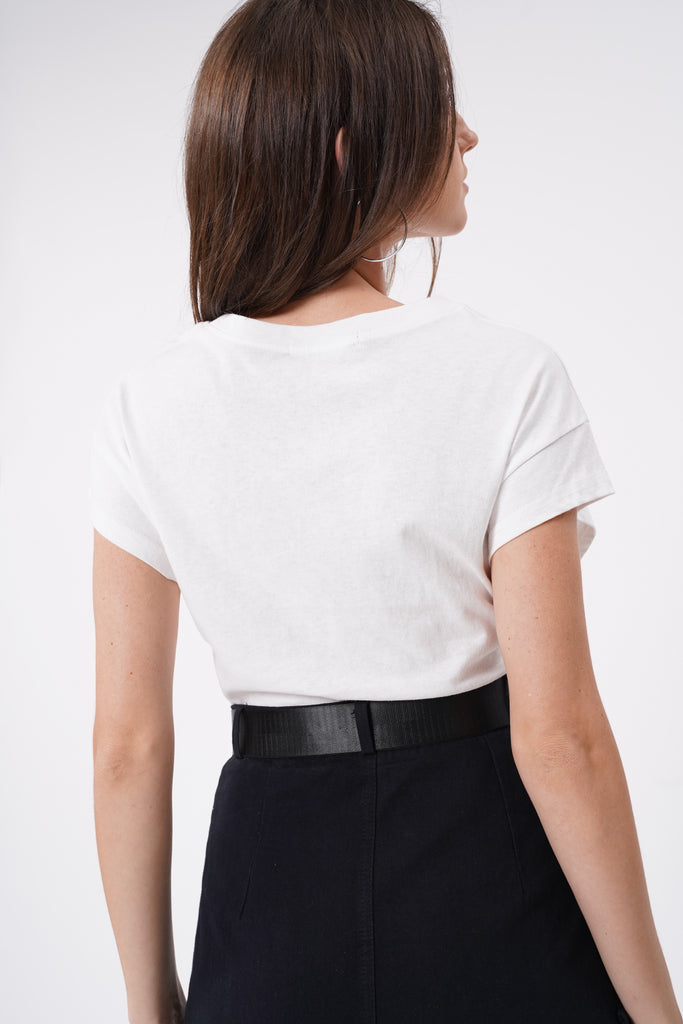 Meet In The Middle Ruched Top - White