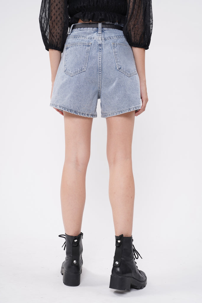 Tell It Twice Baggy Denim Shorts And Belt Bag Set