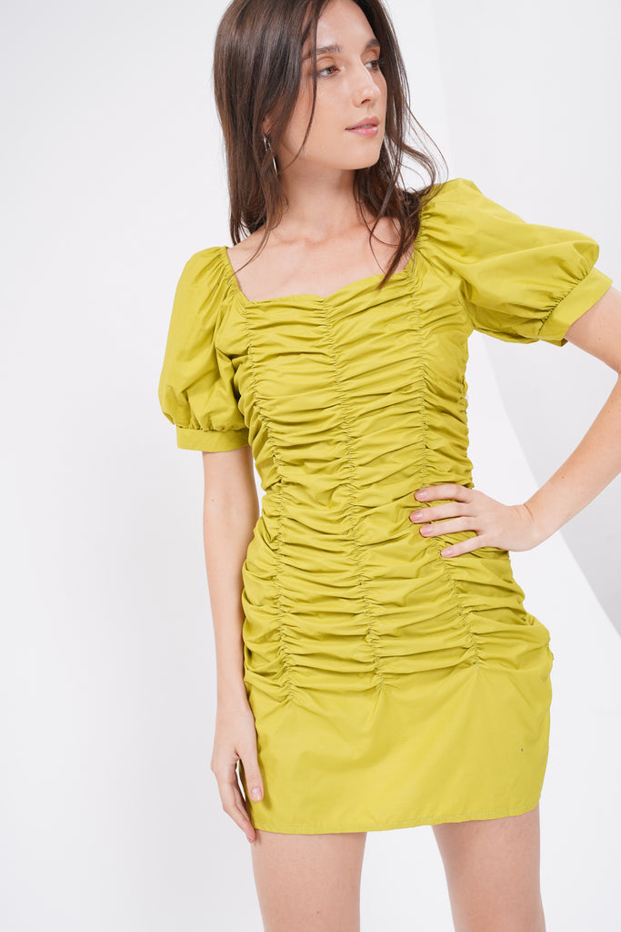 Such A Catch Ruched Dress - Lime