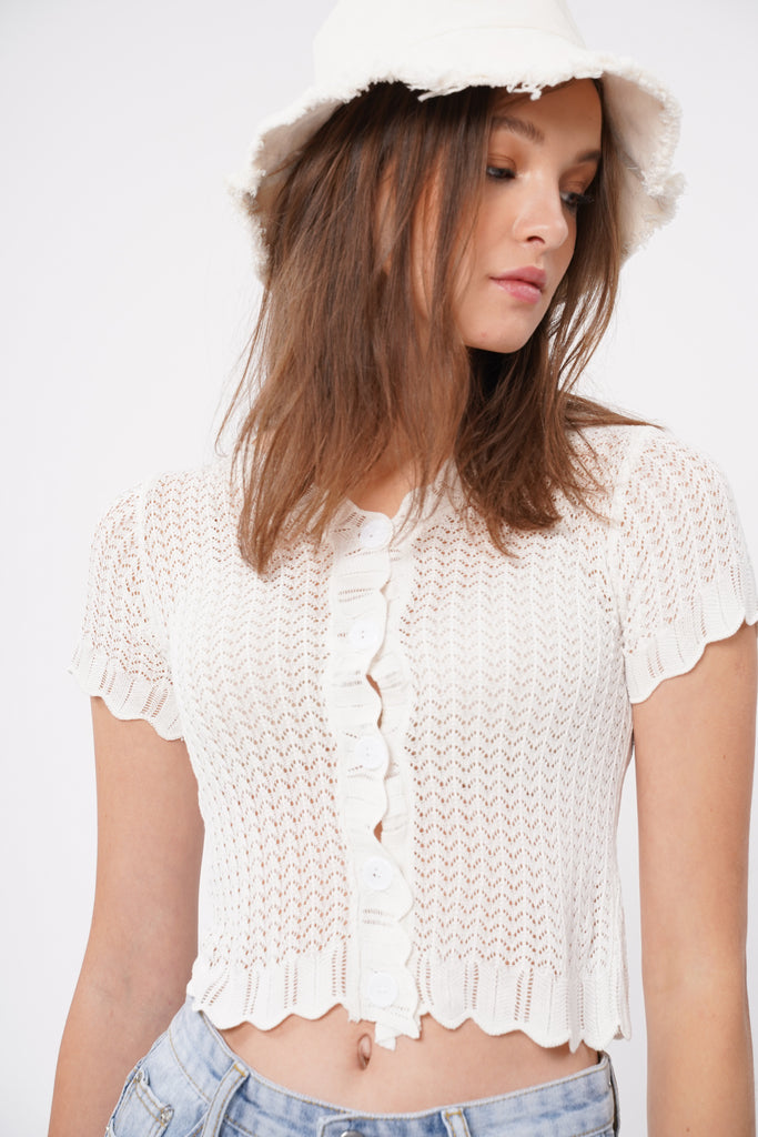 Here To Stay Open Knit Button Down Top - White