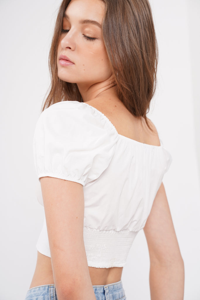 Lost In Love Ruched Bust Top - White