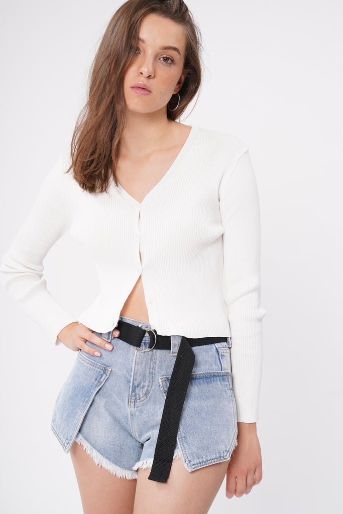 Call On Me Ribbed Cardigan - White