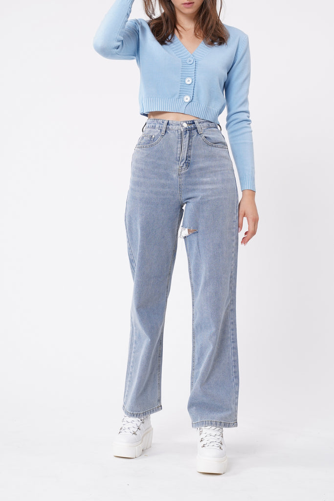 Strike It Out Slashed Baggy Jeans