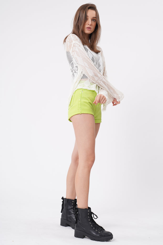 Sour Patch Neon Denim Shorts