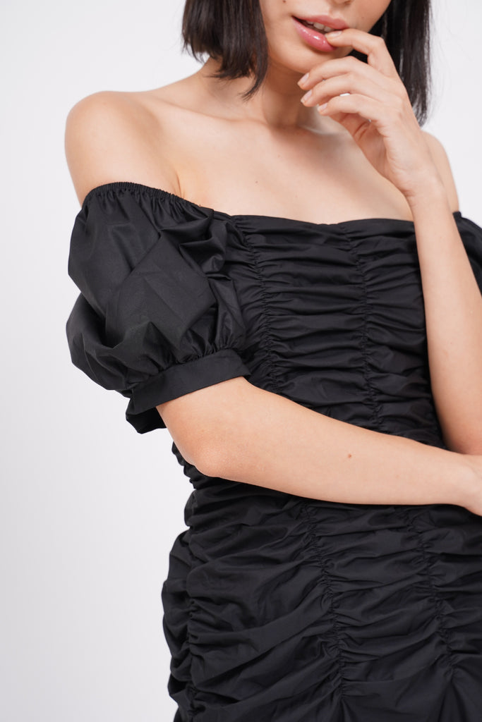 Such A Catch Ruched Dress - Black