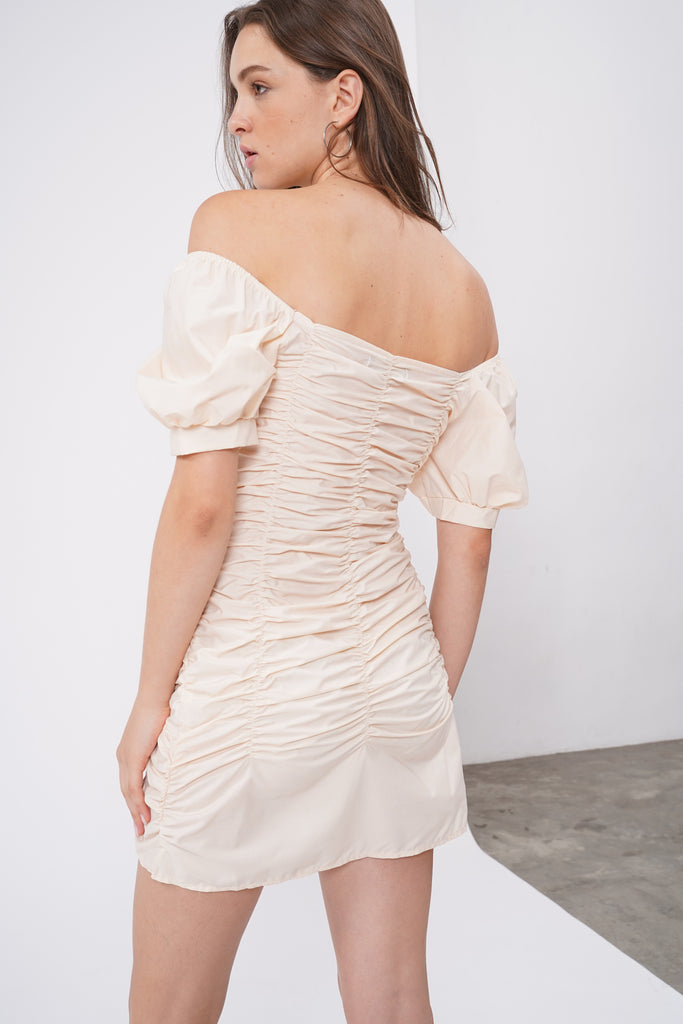 Such A Catch Ruched Dress - Ecru