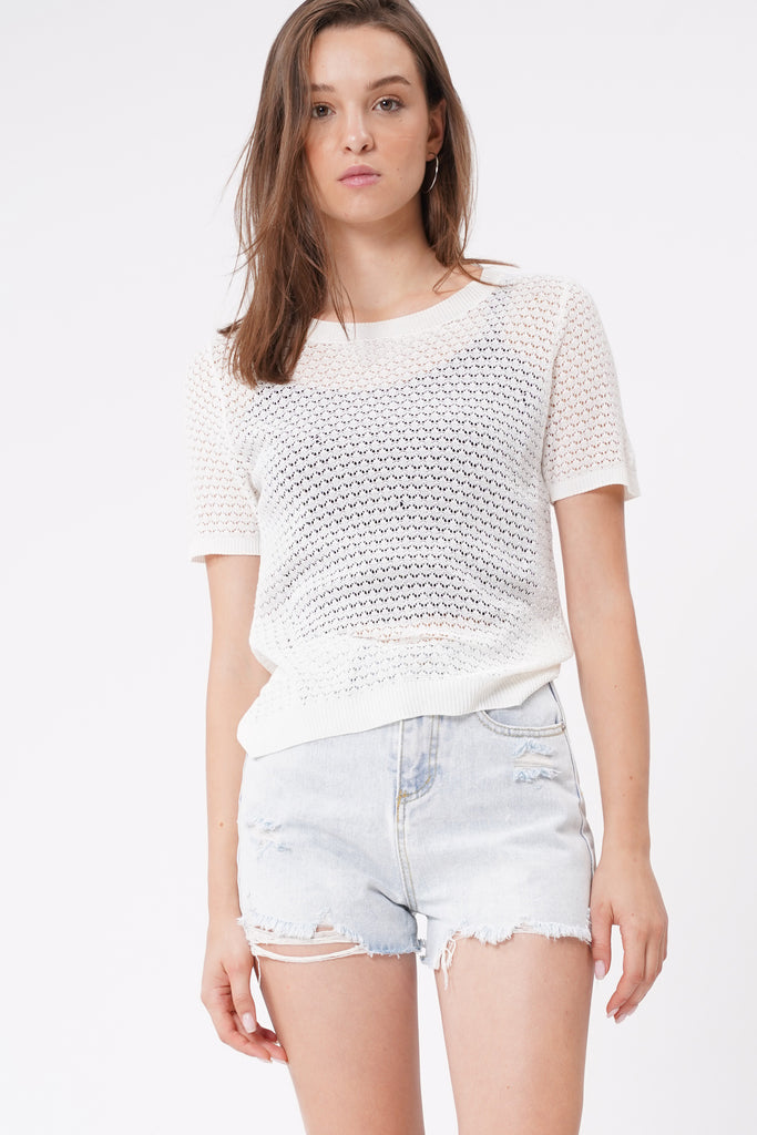 Take Your Time Open Knit Tee - White