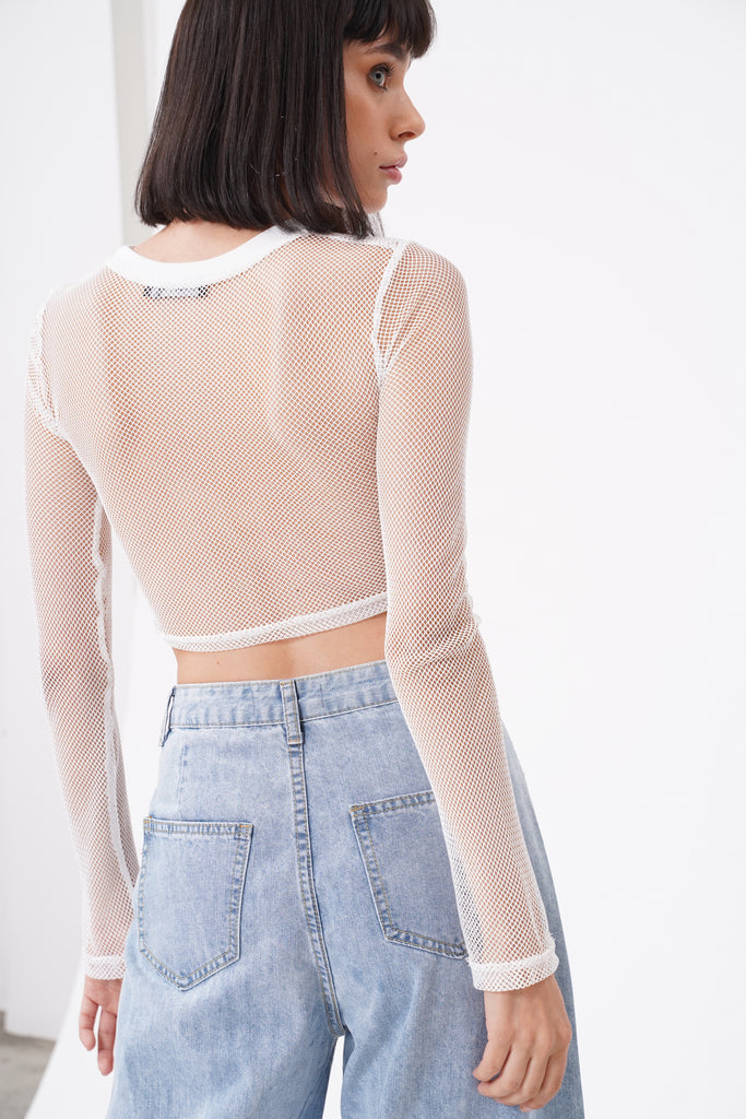 Flash Forward Mesh Longsleeve Crop Top - White