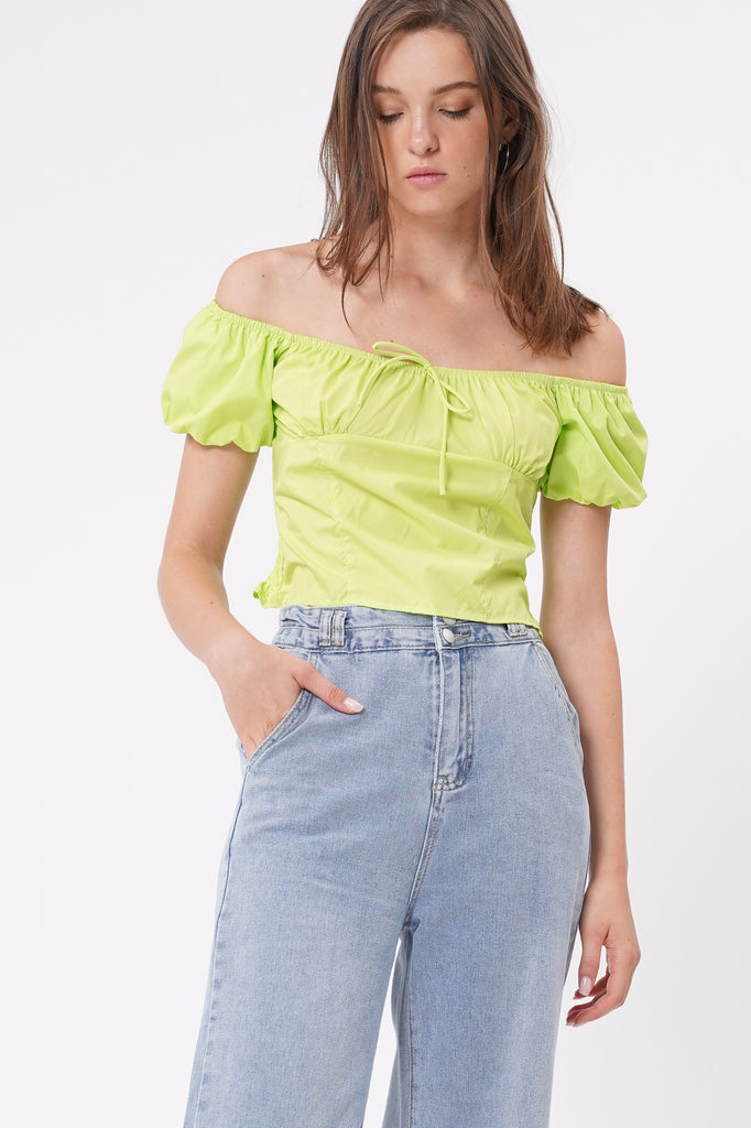 Just A Feeling Crop Top - Acid Lime
