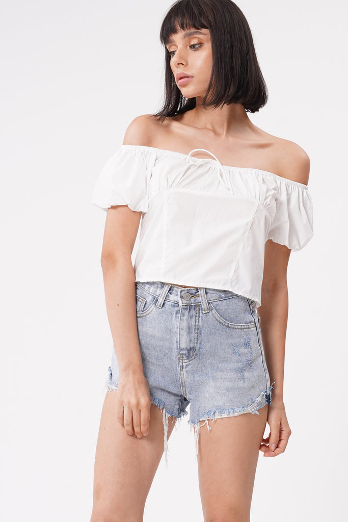Just A Feeling Crop Top - White