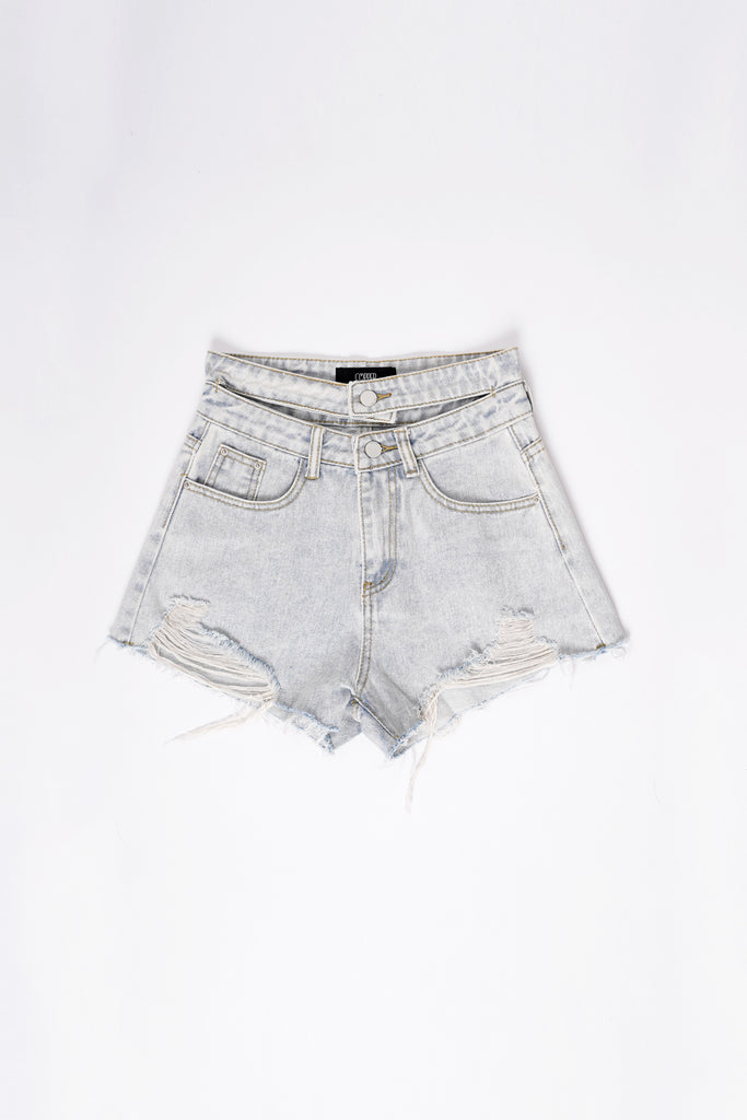Double Down Cutout Denim Cutoffs