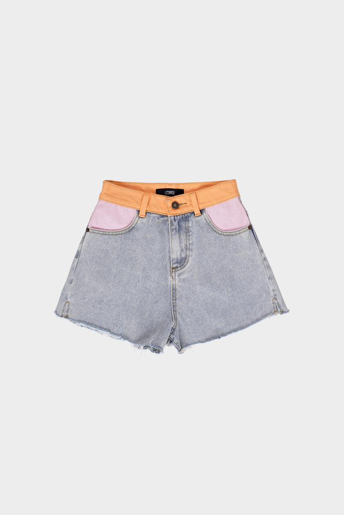 Ahead The Curve Contrast Painted Denim Cutoffs