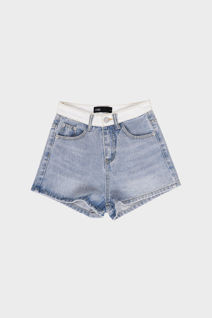 Blank Space Contrast Denim Shorts