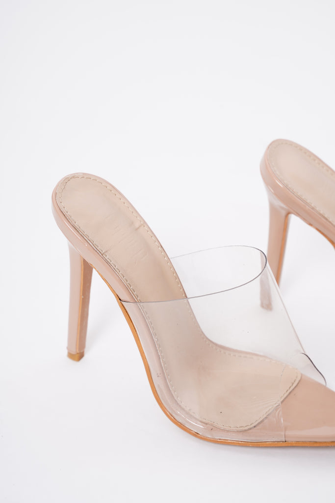 Slayer Perspex Pointed Mules - Nude