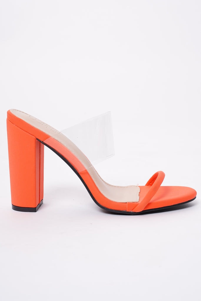 Reckless Perspex Block Heels - Acid Orange