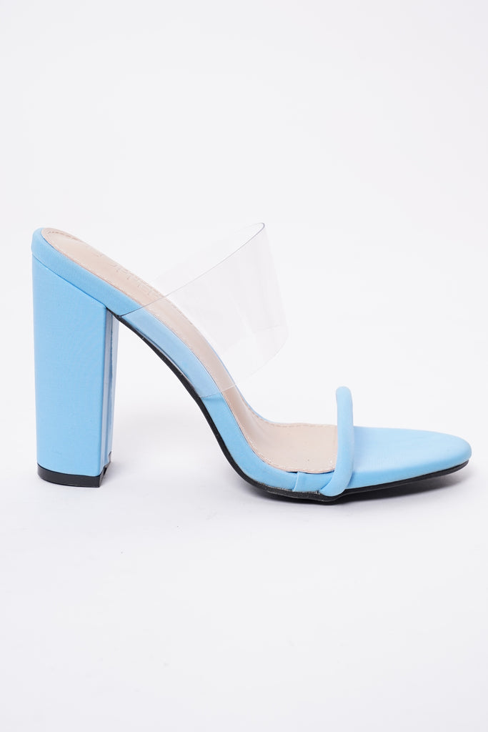 Reckless Perspex Block Heels - Powder Blue
