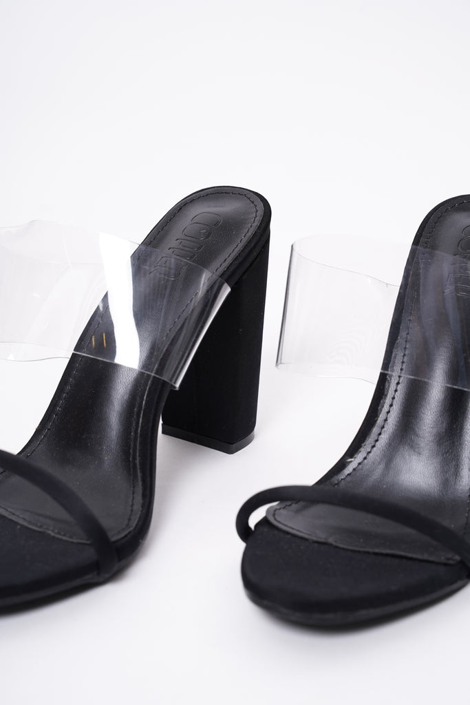 Reckless Perspex Block Heels - Black