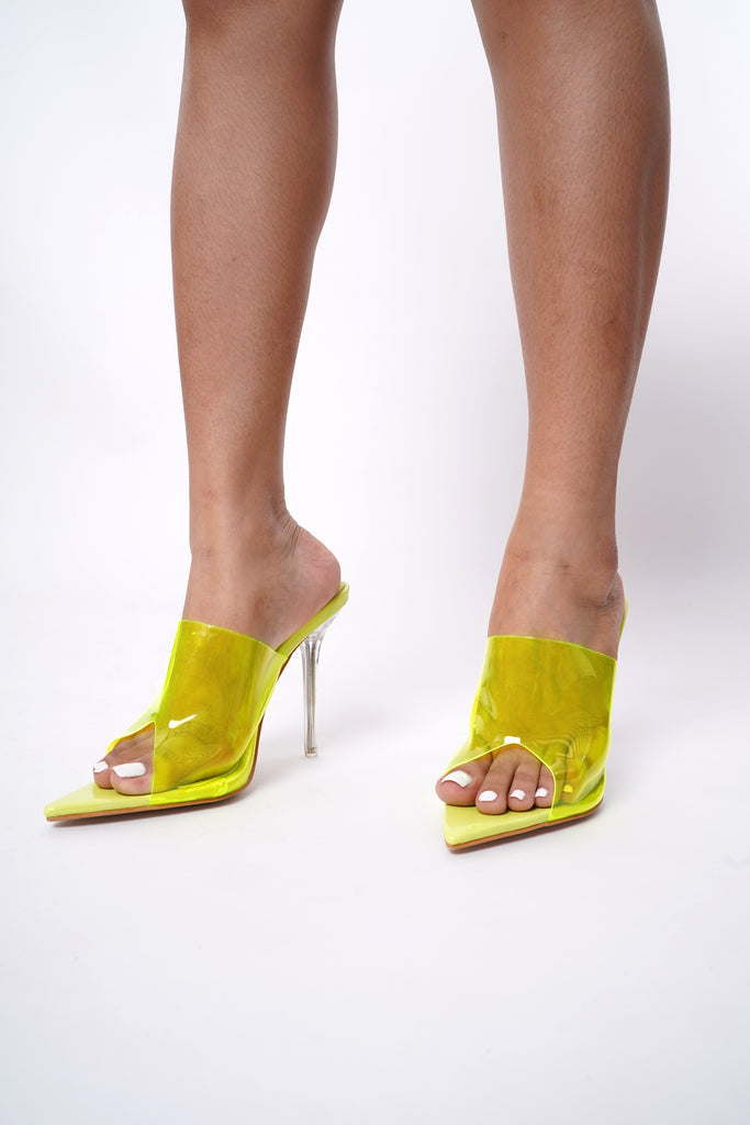 Stunner Perspex Pointed Mules - Acid Lime