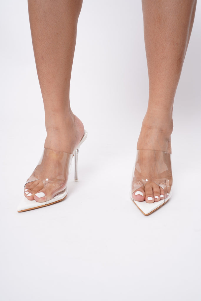 Stunner Perspex Pointed Mules - Ivory