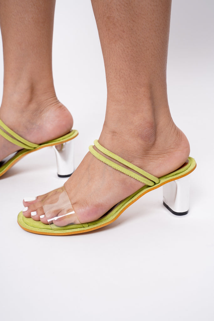 Caprice Faux Suede Heels - Lime