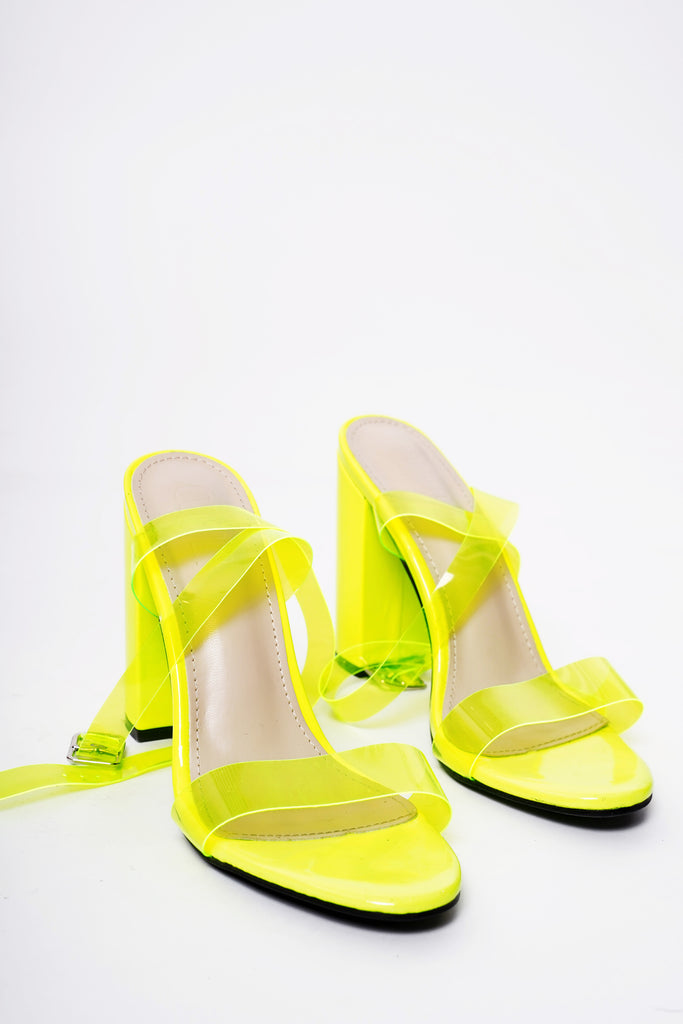 Popular Perspex Block Heels - Acid Lime