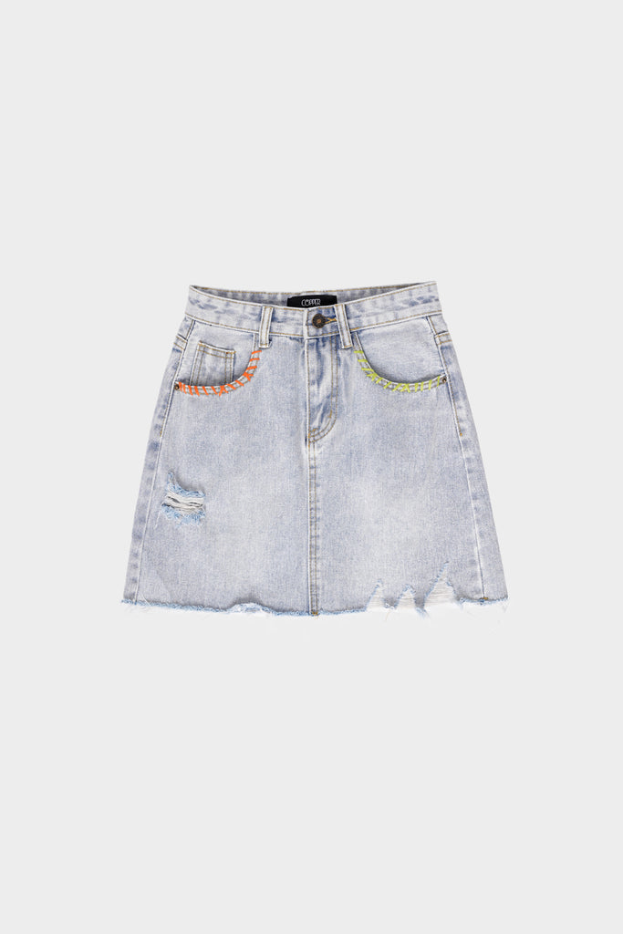 Breaking Point Ripped Denim Skirt