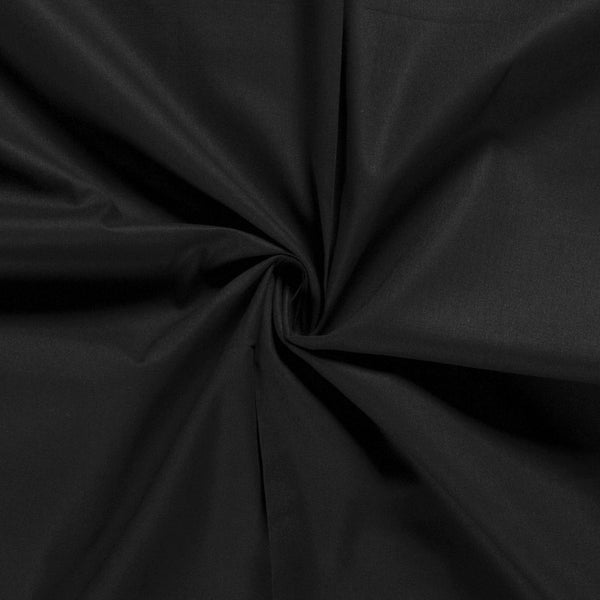 BLACK UNICOLOUR 100% COTTON POPLIN FABRIC HALF METER
