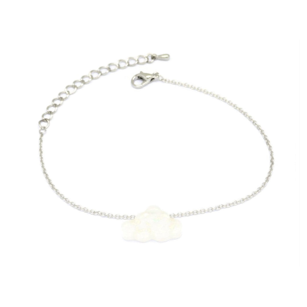 Cloud Chain Bracelet, White, Silver Plating
