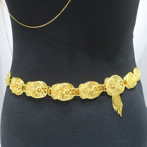 18Kt Gold Plated Arabic Style Waist Belt - Jawaherat