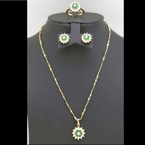 18Kt Gold Plated 2 Pcs Set Women's Fashion Delicate Simple Zircon Jewelries - Jawaherat