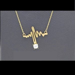 18Kt Gold Plated 2 Pcs Set Women's Fashion Delicate Heartbeat Design - Jawaherat