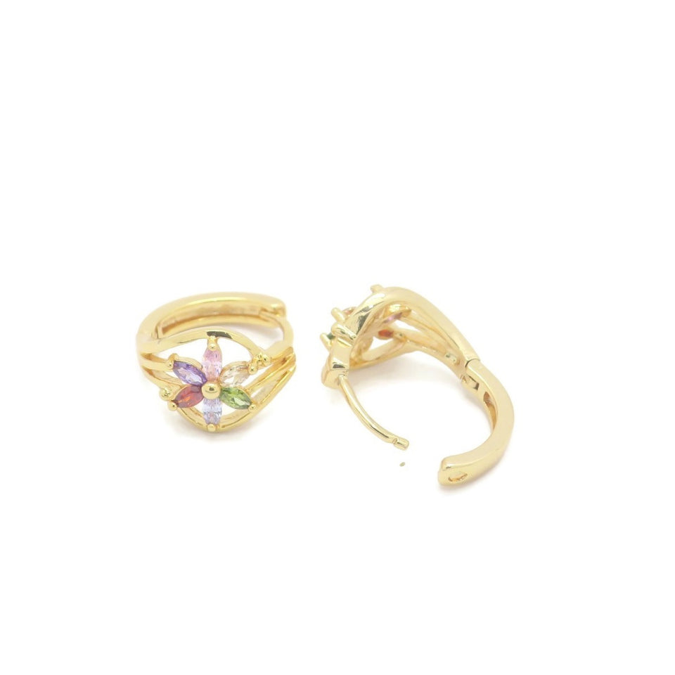 18 kt Gold Plated Fashion MultiColor Hoop Earring - Jawaherat