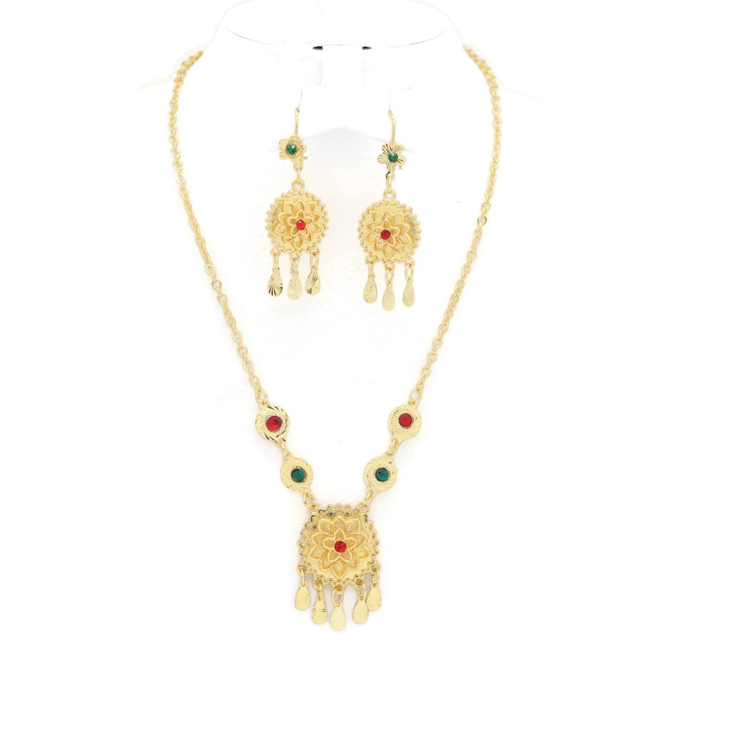 Sunflower Necklace & Earring Set, Multi-Colored, Gold Plating