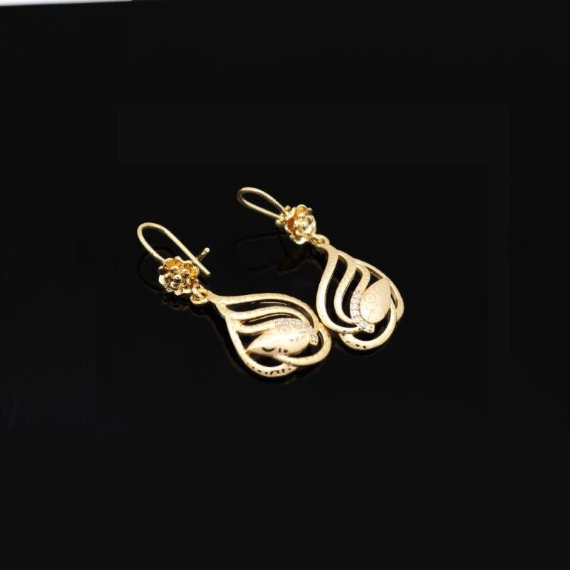 18Kt Rose Gold Plated Women's earring Elegant Simple Zircon Decor Jewelry - Jawaherat