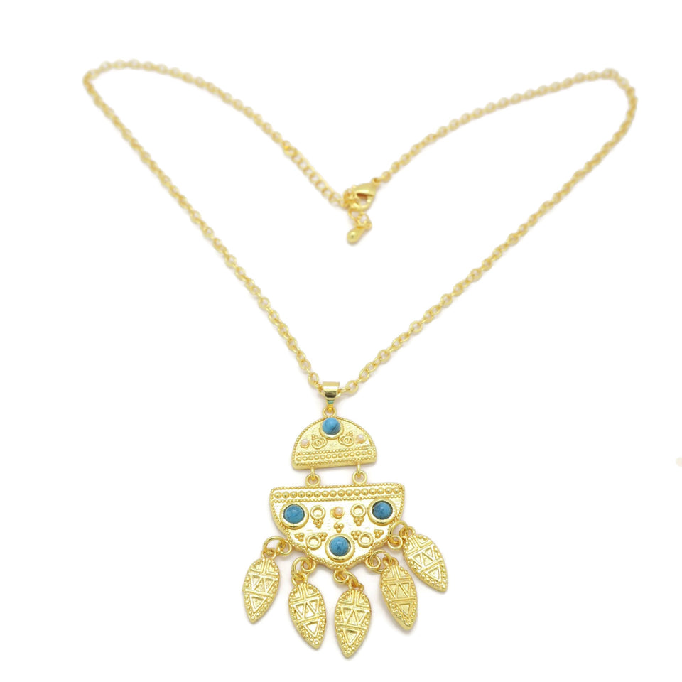 18kt Gold Plated Blue Necklace Set - Jawaherat