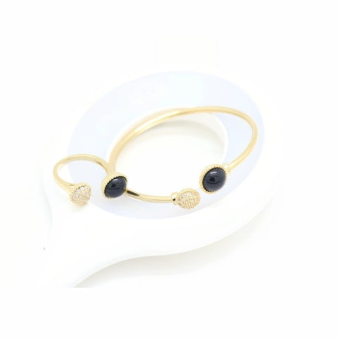 18Kt Gold Plated Women's Fashion Bracelet & Rings Elegant Simple Zircon Decor Accessory - Jawaherat