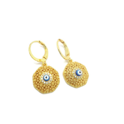 18 kt gold women's fashion earring eye shape design