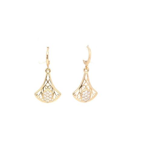 18Kt Gold Plated Women's earring Delicate Simple Zircon Decor Jewelry