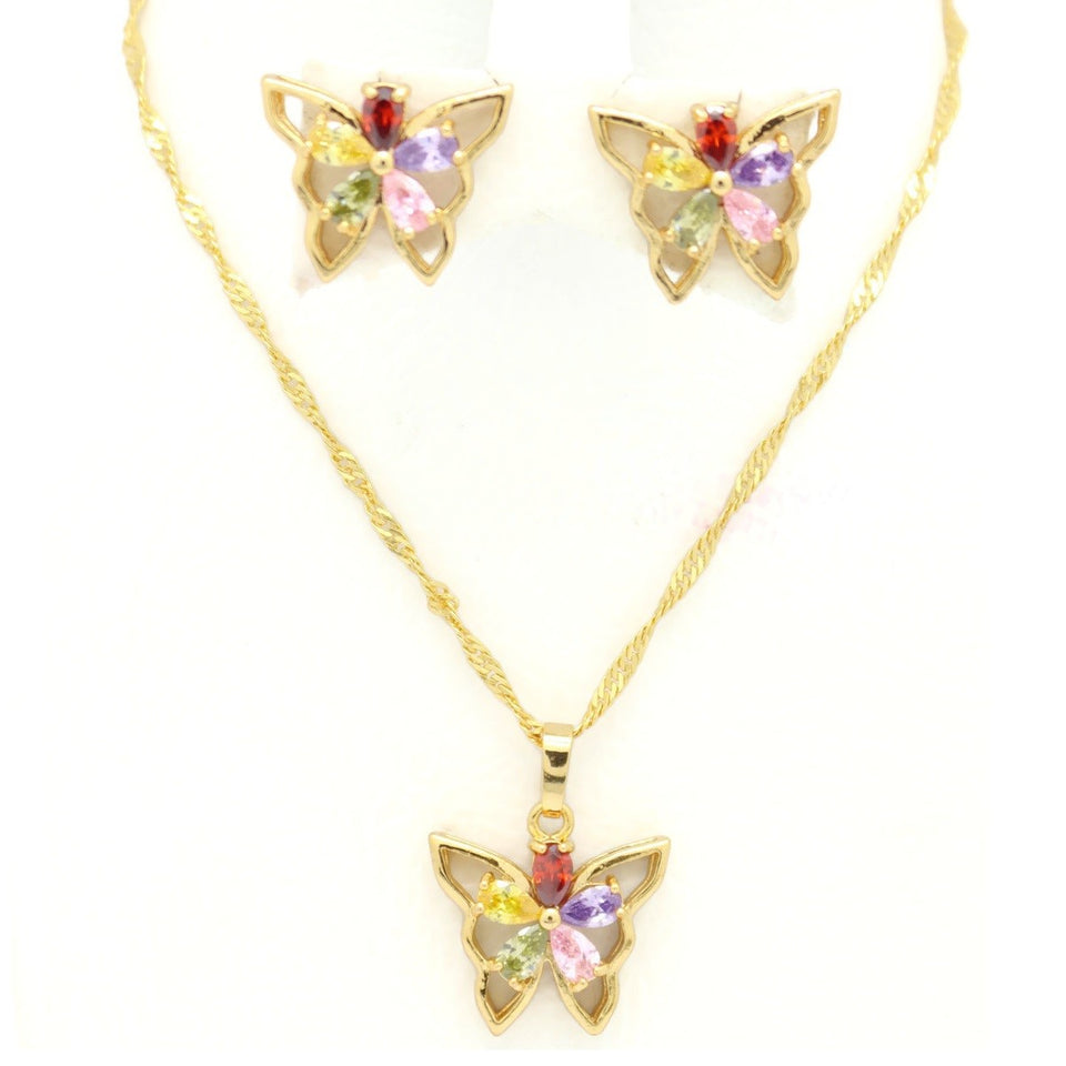 Butterfly Necklace & Earring Set, Multi-Colored, Gold Plating