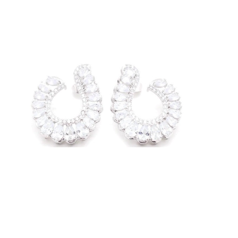 Fc Collection Rhodium Plated Women's Zircon Studs Earrings - Jawaherat