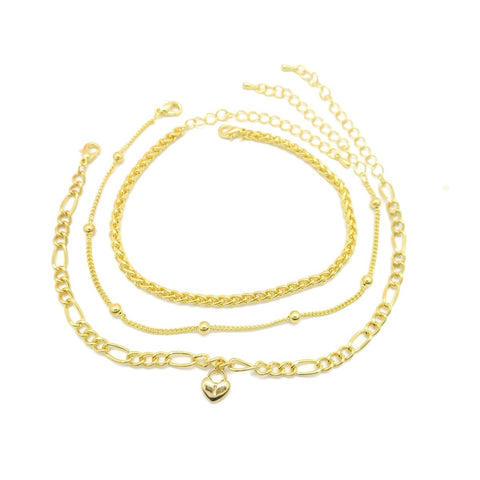 3 pcs Women's Anklet Chain Multi-Layer Simple Design - Jawaherat