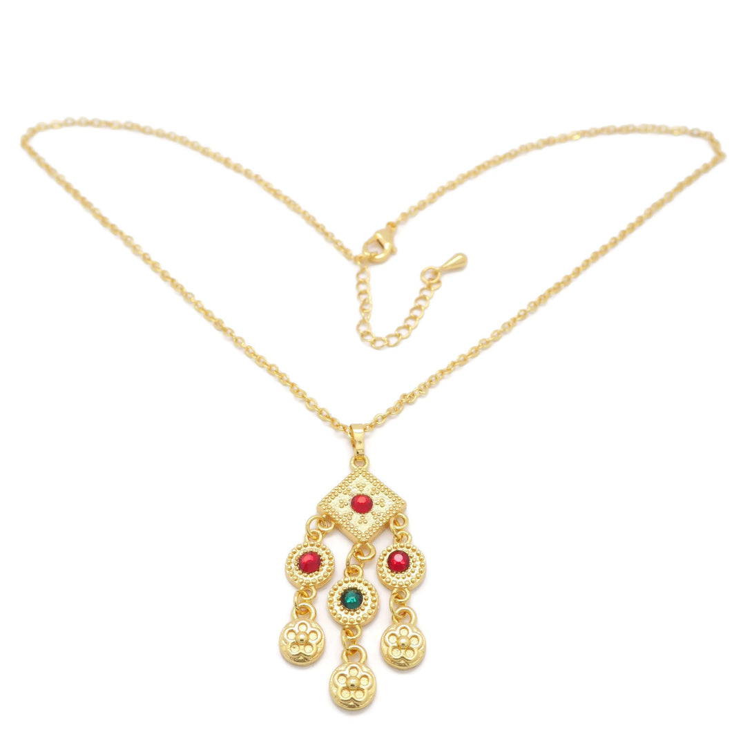 18kt Gold Plated Multicolor Necklace Set - Jawaherat