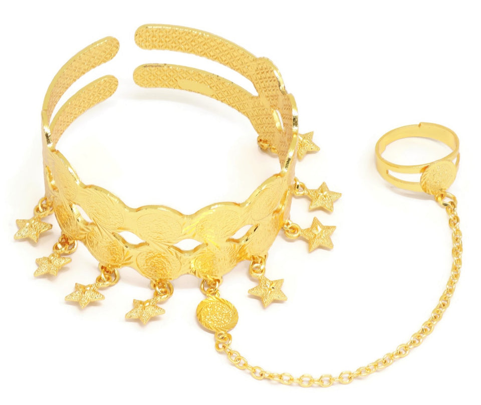 Cuff bracelet for Women, Gold Plating, Star shaped jhumkas and Ring attached.