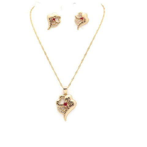 18Kt Gold Plated Women's Fashion Laser Print Necklace & Earring Delicate Heart Shape Ruby Stone Zircon Decor Accessory - Jawaherat