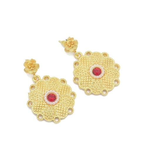 18 kt gold women's fashion ruby color stone earring