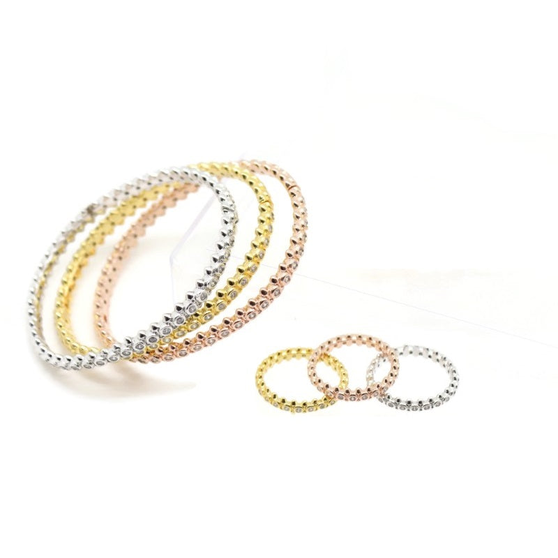 18Kt Gold Plated 3 Pieces Women's Bracelet & Ring Delicate Fashion Zircon Decor Jewelries - Jawaherat