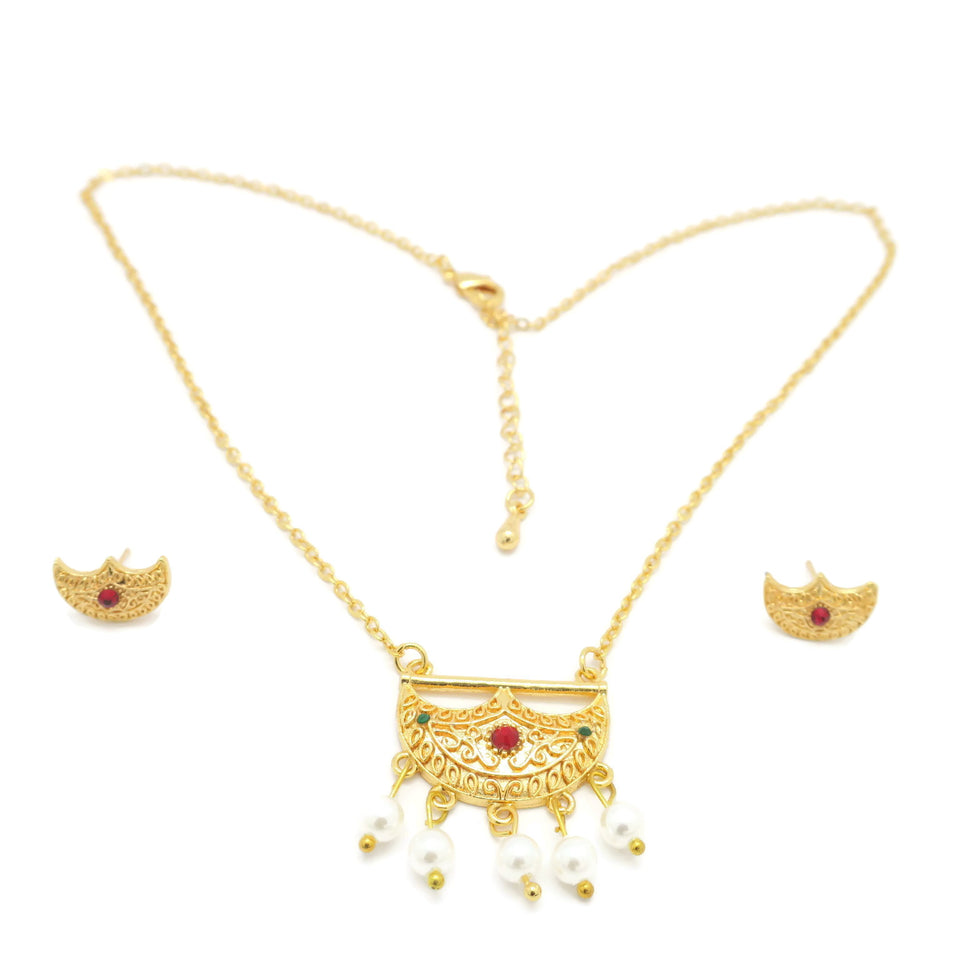 18kt Gold Plated Hilal Necklace Set - Jawaherat