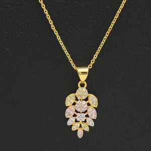 Three Tone Gold Mix Contorted Pendant Necklaces for Women Cubic Zirconia - Jawaherat