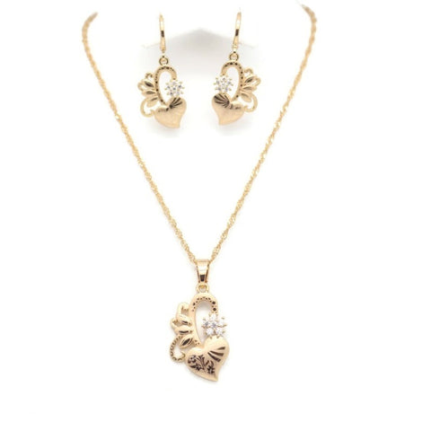18Kt Gold Plated Women's Fashion Laser Print Necklace & Earring Delicate Simple Zircon Decor Accessory - Jawaherat