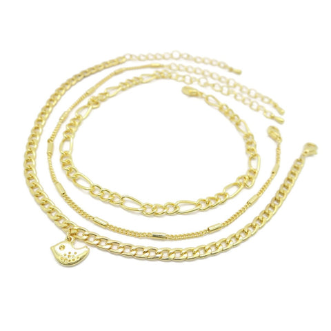 Triple Women's Anklet Chain Design - Jawaherat